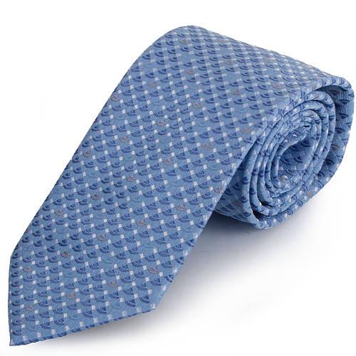 Яркий мужской широкий галстук SCHONAU & HOUCKEN (ШЕНАУ & ХОЙКЕН) FAREPS-18 голубой