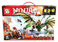 Конструктор Ninja SY 592 Зеленый энерджи дракон Ллойда: 661 деталь, 5 мини фигурок, аксессуары