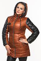 Стильная женская зимняя куртка Ирина кирпич 40-54 размеры