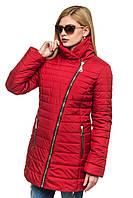 Яркая красная зимняя куртка   Миледи 44-54 размеры