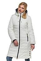 Длинная белая стеганная зимняя куртка Эльза 44-56 размеры
