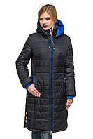 Длинная черная стеганная зимняя куртка Эльза 44-56 размеры