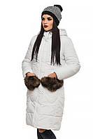 Зимняя белая куртка с интересным меховым оформлением Эля 44-52 размеры