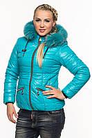 Зимняя короткая женская бирюзовая куртка Ксения 40-52 размеры