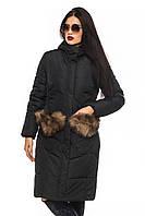 Зимняя черная  куртка с меховым декором Эля 44-52 размеры