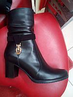 Ботинки демисезонные черные на устойчивом каблуке Рассвет.