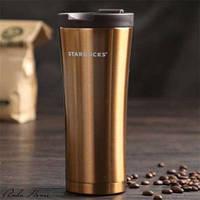 Термокружка Starbucks (Тамблер Старбакс) 500 мл золотистая