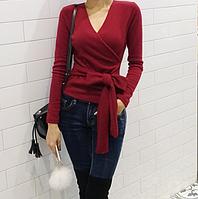 Женская теплая кофта из флиса бордовая