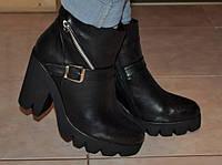 Женские зимние ботинки кожа натуральная