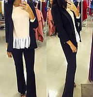Костюм брючный, пиджак + брюки клеш с высокой талией