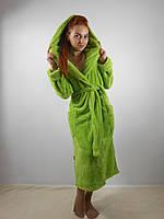 Махровый халат длинный с капюшоном
