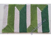 """Ковер прямоугольный для ванной Ария """"Океан"""", цвет зеленый с белым в полоску"""