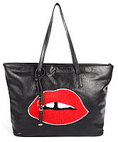Сумка женская черная эко-кожа мягкая с губами Kiss, Черный
