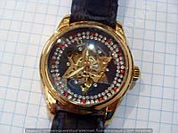 Часы Omega 114362 женские механические золотистые с черным в стразах автоподзавод скелетон