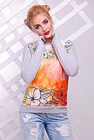 Женский модный свитшот с цветами (+ большие размеры)