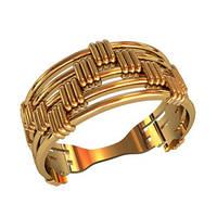 Женское золотое кольцо 585* пробы с вертикальными и горизонтальными линиями