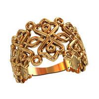 Узорчатое женское золотое кольцо 585* пробы
