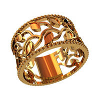 Широкое женское золотое кольцо 585* пробы с сюжетом
