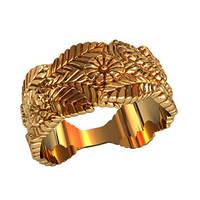 Рифленое женское золотое колечко 585* пробы с сюжетом