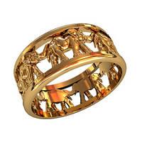 Необыкновенное женское золотое кольцо 585* пробы со слонами