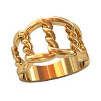 Просторное женское золотое колечко 585* пробы