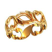 Облегченное просторное женское золотое колечко 585* пробы