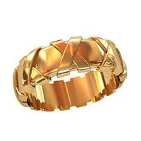 Плотное женское золотое колечко 585* пробы с выступающими деталями