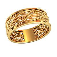 Шикарное женское золотое колечко 585* пробы с переплетающимися линиями