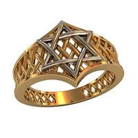 """""""Звезда Давида"""" - женское перфорированное золотое кольцо 585* пробы"""