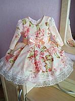 Утонченное платье на девочку в цветочек с пышной юбкой и кружевной отделкой