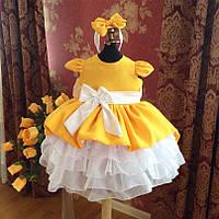 Бальное нарядное детское платье с пышным низом и бантом на поясе