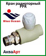 Кран радиаторный шаровый из PPSU 25*3/4 прямой BLUE OCEAN