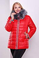 Пуховик - куртка женская красная размер 48,50, 52