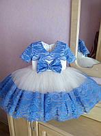 Бальное нарядное платье на девочку с пышной юбкой и кружевной отделкой