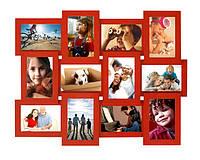 Фоторамка мультирамка деревянная Красная на 12 фото