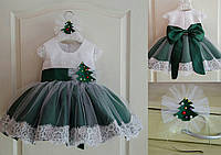 Карнавальное праздничное платье на девочку елочка с пышной юбкой и кружевной отделкой