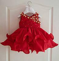 Нарядное праздничное  платье на девочку с двойной пышной юбкой и бусинами