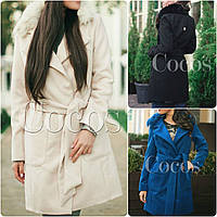 Кашемировое пальто на поясе с натуральным мехом песец