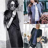 Кашемировое пальто с искусственным мехом