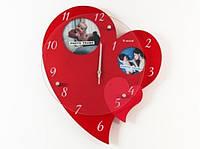 Часы Сердце с двумя фоторамками красные