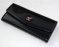 Кошелек женский черный кожаный CHANEL