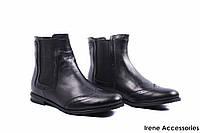 Ботинки женские кожаные Grossi (ботильоны стильные, каблук, байка, черные, Украина)