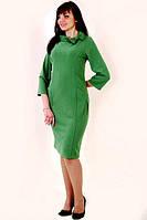 """Платье женское """"футляр"""" изумрудное, ботал , по колено, большие размеры , текстиль , пл 098-2."""