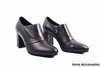 Туфли женские кожаные Romanelli (изысканные, удобная колодка, каблук, кожа, черные,Турция)