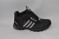 Мужские зимние кожаные ботинки, черные с серыми резинками по бокам