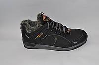 Мужские зимние кожаные ботинки, черные на меху, сбоку нашитые резинки