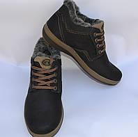 Мужские зимние комбинированные ботинки, MISHEL, черные,коричневый шнурок