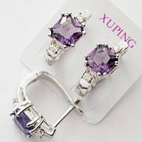 Серьги Xuping родий английский  замок фиолетовый прямоугольный цирконий