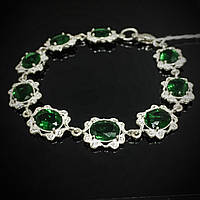 Cеребряный женский браслет со вставками из зеленого фианита, 190мм