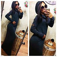Теплое платье с капюшоном / трикотаж джерси с начесом / Украина
